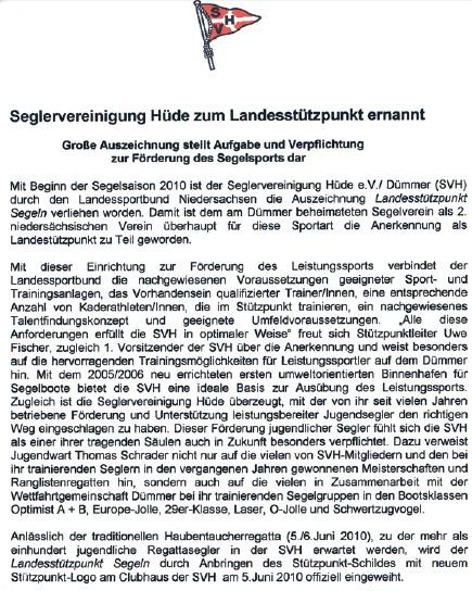 Ernennung zum Landesstützpunkt-Segeln Niedersachsen