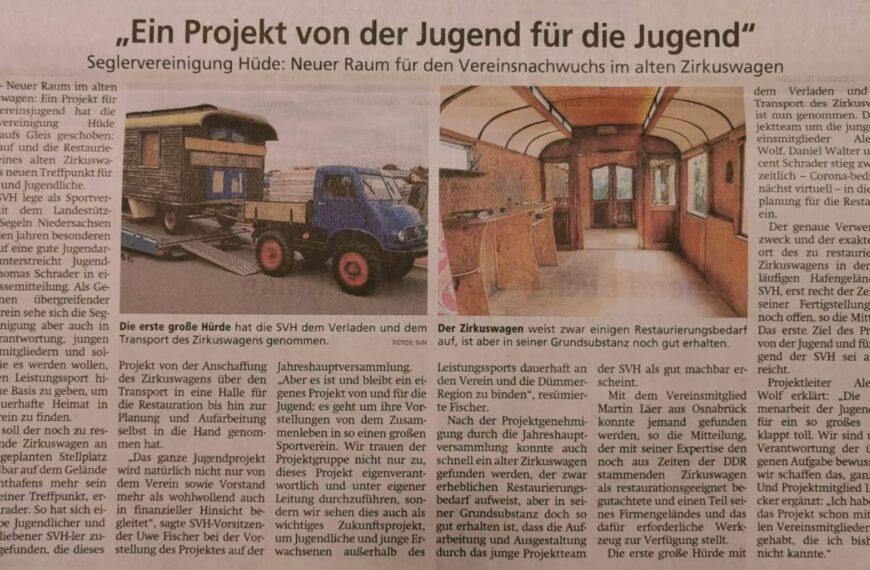 Zeitungsartikel: Neuer Raum für SVH-Jugend im alten Zirkuswagen